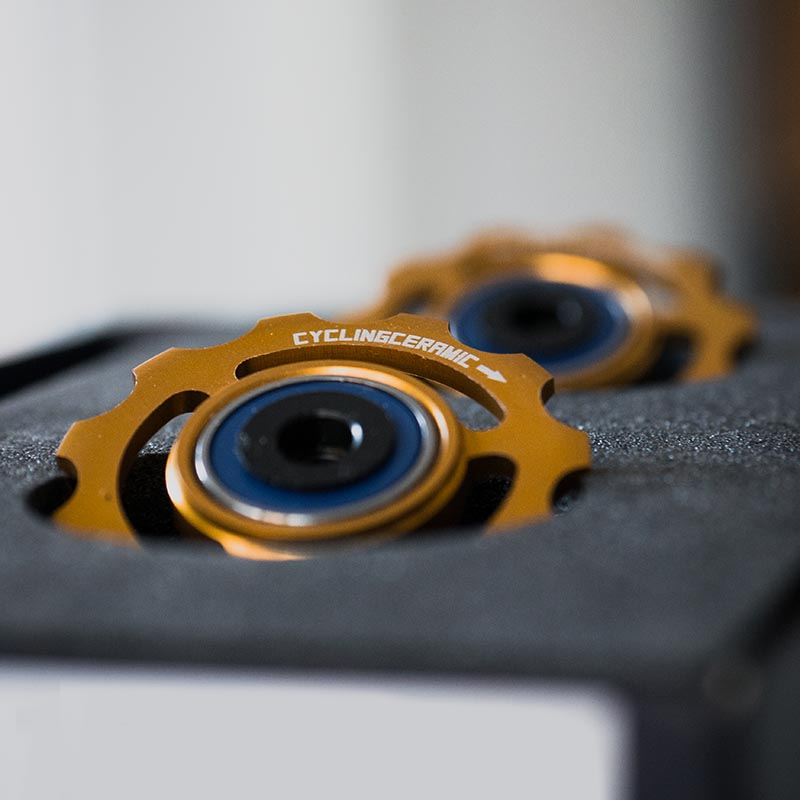 Gold anodized jockey wheels for Shimano 11s