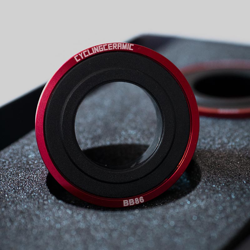 Cycling Ceramic BB86 Bottom Bracket in red.