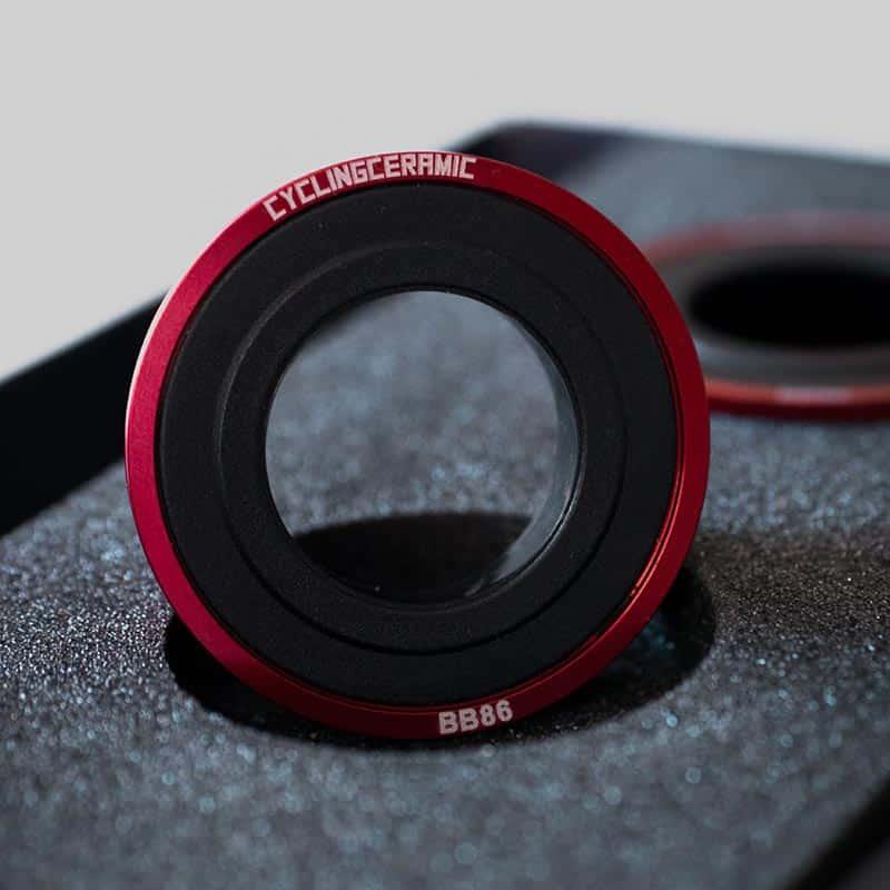 Cycling Ceramic BB86 Bottom Bracket in red.