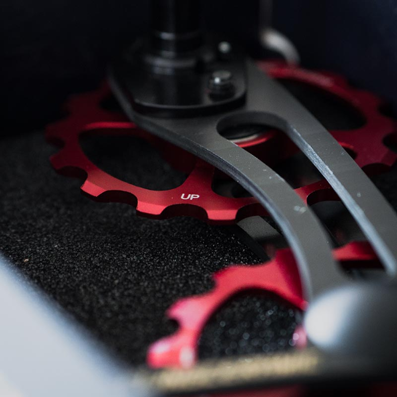 Close up on an oversized derailleur cage with red anodized jockey wheels