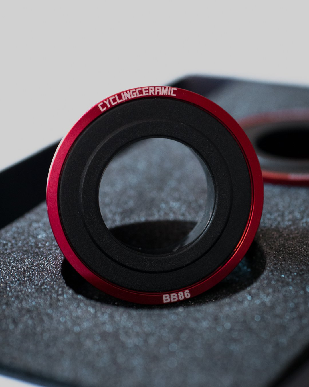BB86 bottom bracket from Cycling Ceramic in red anodized